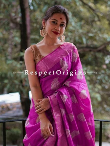 Pink Handwoven Pure Muga Tussar Silk Saree ; 5.5 Meters Length ; 120 Thread Count ; Blouse Included; RespectOrigins.com