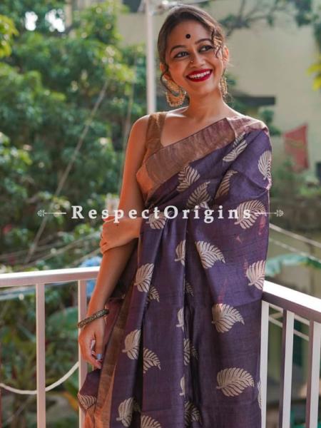 Purple Handwoven Pure Muga Tussar Silk Saree ; 5.5 Meters Length ; 120 Thread Count ; Blouse Included; RespectOrigins.com