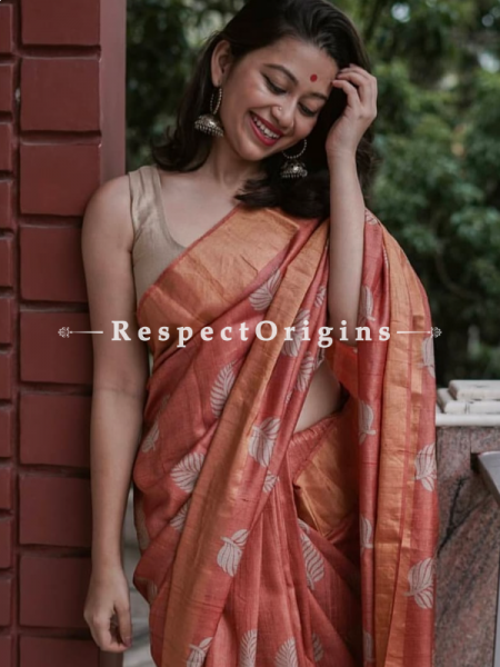 Brown Handwoven Pure Muga Tussar Silk Saree ; 5.5 Meters Length ; 120 Thread Count ; Blouse Included; RespectOrigins.com