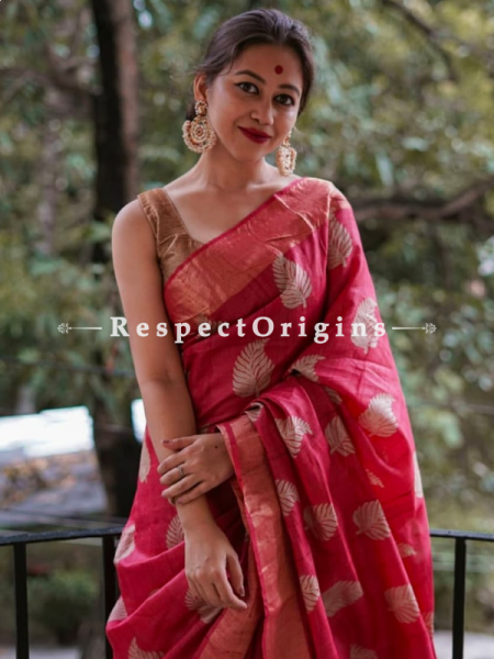 Red Handwoven Pure Muga Tussar Silk Saree ; 5.5 Meters Length ; 120 Thread Count ; Blouse Included; RespectOrigins.com