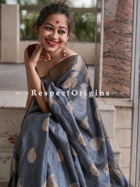 Grey Handwoven Pure Muga Tussar Silk Saree ; 5.5 Meters Length ; 120 Thread Count ; Blouse Included; RespectOrigins.com