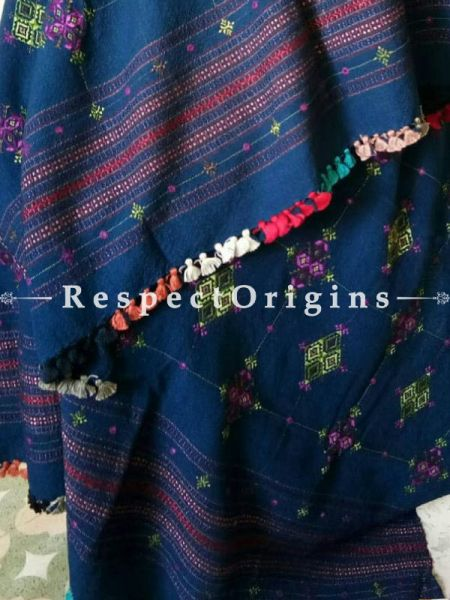 Pure Navy Blue Marino Wool shawl Online at RespectOrigins.com