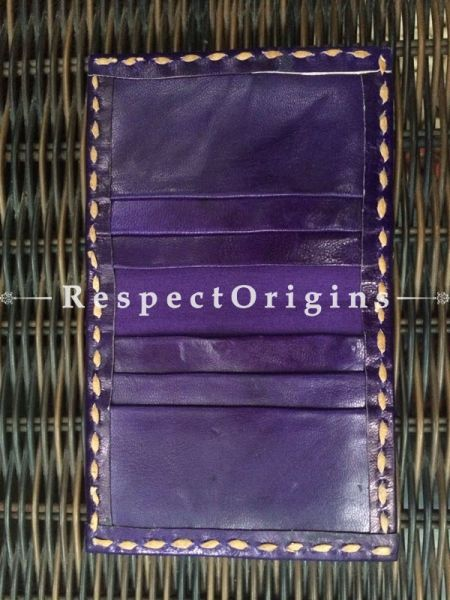 Visiting Card Holders; Genuine Handcrafted Leather; Yellow, White and Red on Purple Kutchi Embroidery; RespectOrigins.com