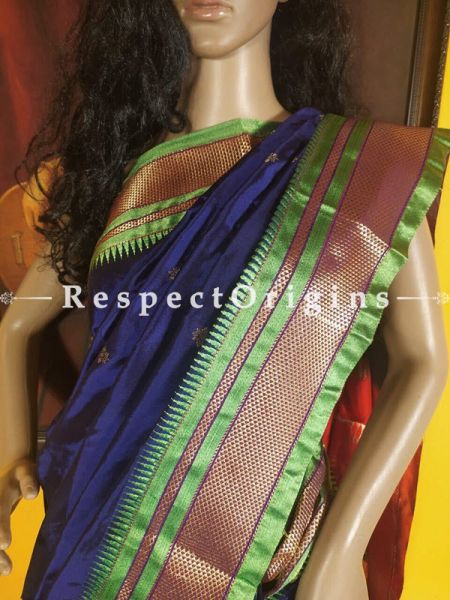 Purple with Parrot Green Zari Border Paithani Handloom Silk Saree ; RespectOrigins.com
