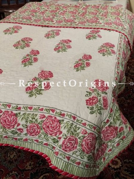 Quilted Block Printed High Quality Double Bedspread In White with Pink Floral Motifs With 2 Shams; Bedspread 90 X 60 Inches