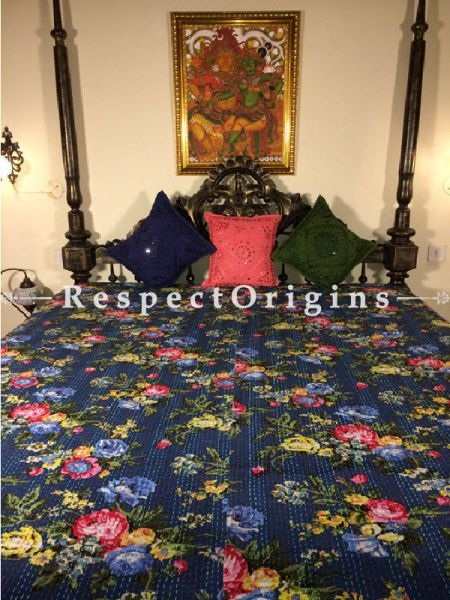 Buy Quilted Cotton Bedspread in Blue Base with Hand Block Print Floral Design and Kantha Work; 3 Cushion Covers included; 90x108 in At RespectOrigins.com