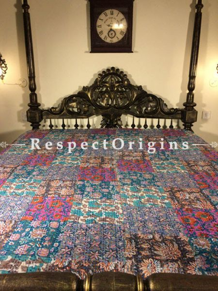 Buy Quilted Cotton Bedspread in blue Base with Striking floral Design in patchwork and Kantha Work; 3 Cushion Covers included; 90x108 in At RespectOrigins.com