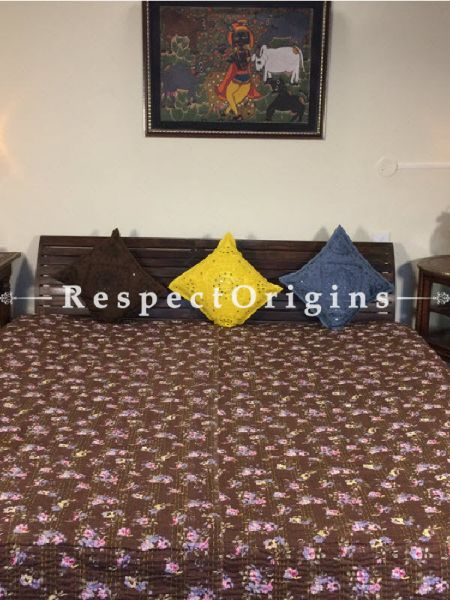Buy Quilted Cotton Bedspread in Brown Base with Hand Block Print Floral Design and Kantha Work; 3 Cushion Covers included; 90x108 in At RespectOrigins.com