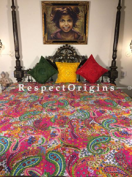 Buy Quilted Cotton Bedspread in Pink Base with Striking Floral Design and Kantha Work; 3 Cushion Covers included; 90x108 in At RespectOrigins.com