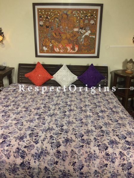 Buy Quilted Cotton Bedspread in White Base with Striking blue Floral Design hand block Print and Kantha Work; 3 Cushion Covers included; 90x108 in At RespectOrigins.com