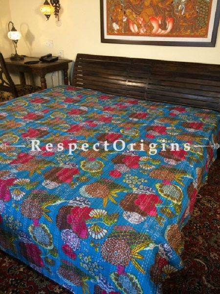 Buy Quilted Cotton Bedspread in white Base with Striking Floral Design and Kantha Work; 3 Cushion Covers included; 90x108 in At RespectOrigins.com