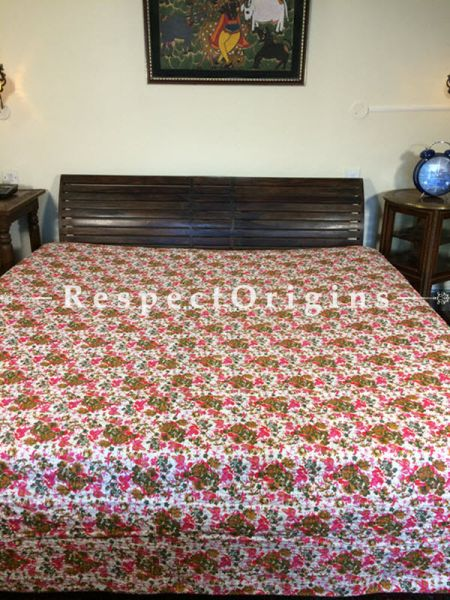 Buy Quilted Cotton Bedspread in white Base with Striking Floral Design hand block Print and Kantha Work; 3 Cushion Covers included; 90x108 in At RespectOrigins.com