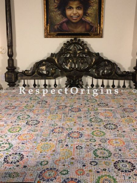 Buy Quilted King Size Cotton Bedspread in white Base With Hand Block Print Circular Design and Kantha Work; 3 Cushion Covers included; 90x108 At RespectOrigins.com