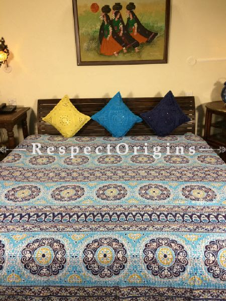 Buy Quilted King Size Cotton Bedspread in light blue Base With Hand Block circular and geometrical Print and Kantha Work; 3 Cushion Covers included; 90x108 At RespectOrigins.com