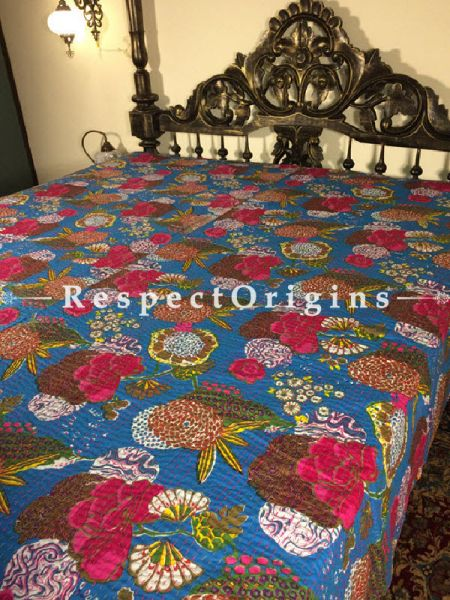 Buy Quilted King Size Cotton Bedspread in Blue Base With Hand Block Print Floral Dahlia Design and Kantha Work; 3 Cushion Covers included; 90x108 At RespectOrigins.com