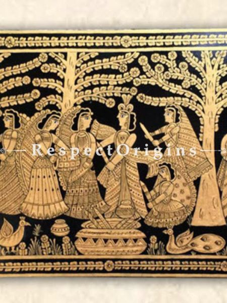 Buy Raas Leela; Rectangular Tikuli Art Hand Painted Folk Wall Art; Cardboard; 24x12 in At RespectOrigins.com