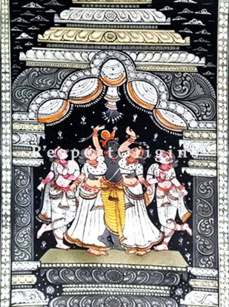 Buy Raas - The Dance of Krishna Pattachitra Katha Raas - The Dance of Krishna Pattachitra Painting Canvas Large Vertical Folk Art of Odisha 19x13; RespectOrigins.com