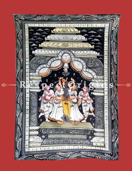 Raas - The Dance of Krishna Pattachitra Katha Raas - The Dance of Krishna Pattachitra Painting Canvas Large Vertical Folk Art of Odisha 19x13