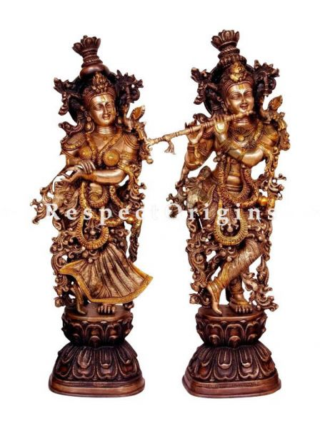 Buy Handcrafted Vintage Lord Radha Krishna Statue; Brass At RespectOrigins.com
