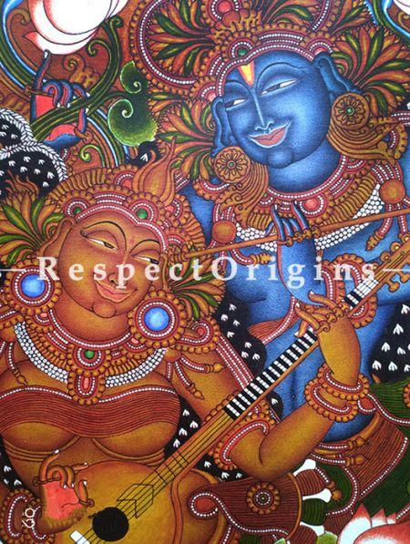 Radha Krishna Kerala Mural Art or Painting on canvas; 20x28 in; Chuvarchithram