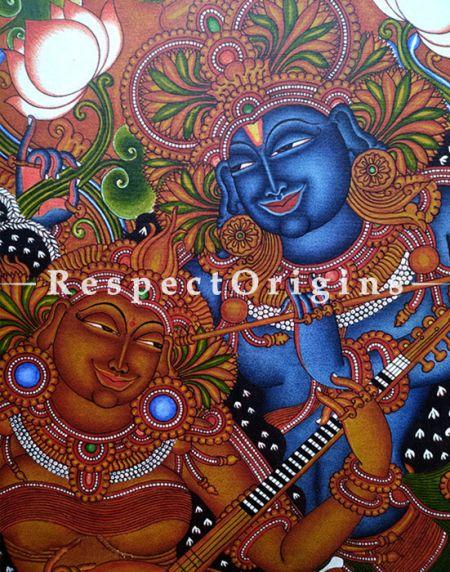 Radha Krishna Kerala Mural Art; 20 X 28 inches; Chuvarchithram|RespectOrigins
