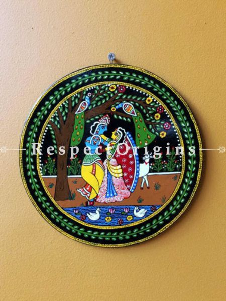 Buy Radha Krishna; Tikuli Art Hand Painted Round Folk Wall Art; Cardboard; 8.5 in At RespectOrigins.com