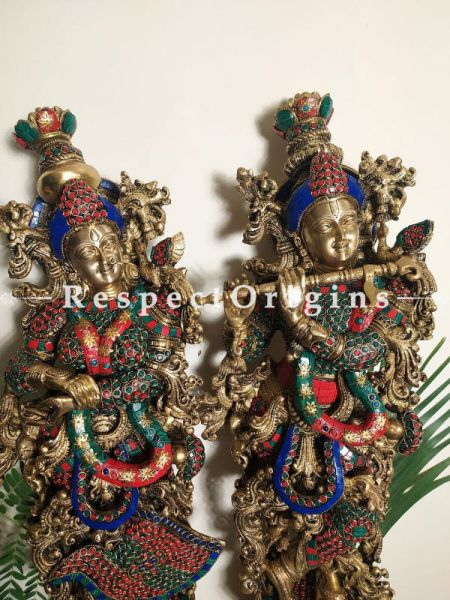 Radha Krishna Bronze Brass Idol Statues With Stone Inlay; Krishna 31 In & Radha 30 In.