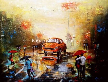 Horizontal Art Painting of Rainy Day in kolkata 12;Acrylic on Canvas; 30in X 24in at RespectOrigins.com
