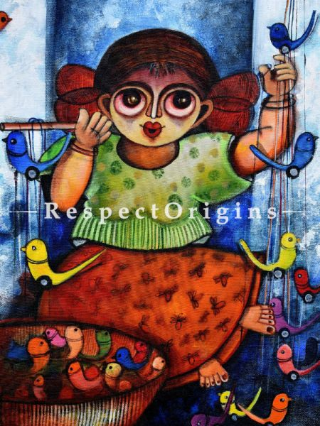 Vertical Art Painting of Rajan ;Acrylic on Canvas; 14in X 18in at RespectOrigins.com