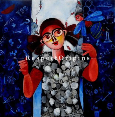 Square Art Painting of Rajan ;Acrylic on Canvas; 30in X 30in at RespectOrigins.com