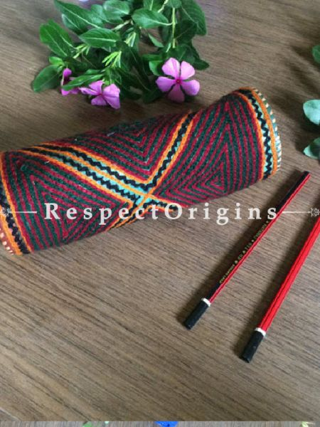 Buy Multicolor Rajasthani Embroidered Leather Pouch; RespectOrigins.com