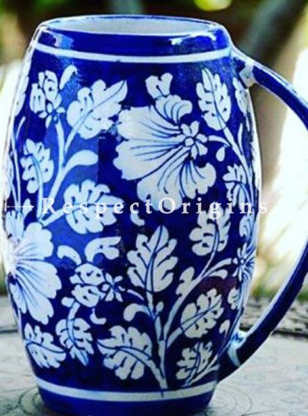 Buy Blue and White Ceramic Floral Design Beer Mug Set of 2; 400 ML; Handcrafted Jaipuri Blue Pottery; Chemical Free At RespectOrigins.com