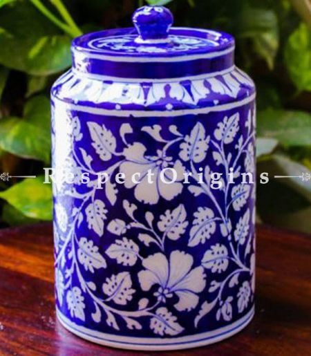 Buy Ceramic Pottery Spice Jar or Container or Canister in Blue With White Floral Design; Handcrafted Jaipuri Blue Pottery; Chemical Free At RespectOrigins.com