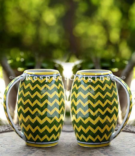 Buy Ceramic Yellow and Green Zig Zag Pattern Beer Mug Set of 2; 400 ML; Handcrafted Jaipuri Blue Pottery; Chemical Free At RespectOrigins.com