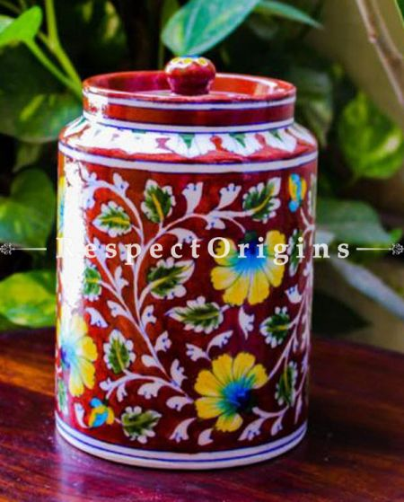 Buy Ceramic Pottery Spice Jar or Container or Canister in Red With Yellow and Blue Floral Design; Handcrafted Jaipuri Blue Pottery; Chemical Free At RespectOrigins.com