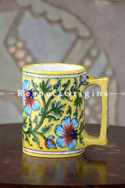 Buy Coffee Mug Set of 4; Yellow Base With Blue and Green Floral Design; Handcrafted Jaipuri Blue Pottery; Chemical Free At RespectOrigins.com