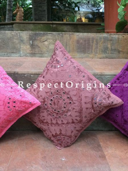 Buy Purple Rain! Square Cotton Rajasthani Embroidery Mirror Work Cushion Cover 16x16 in At RespectOrigins.com