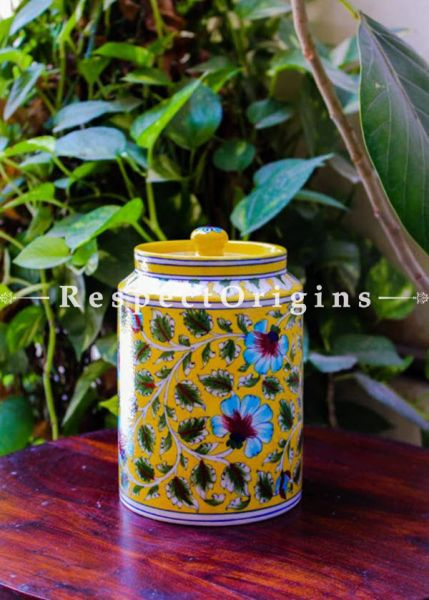 Buy Spice Jar or Canister in Yellow With Blue Floral Design; Handcrafted Jaipuri Blue Pottery; Chemical Free At RespectOrigins.com