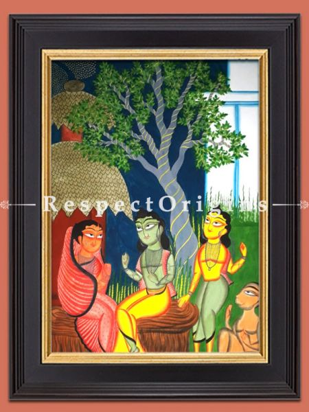 Ram Parivar; Kalighat Painting; Vertical Folk Art of Bengal; 30x23