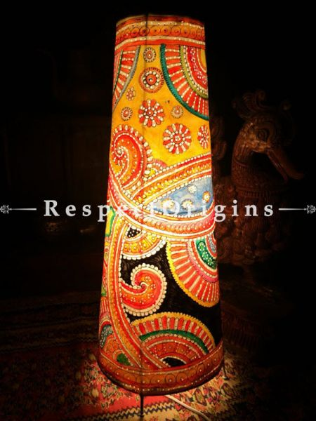 Buy Rangoli Designer Painted Cylindrical Leather Lampshade;  25 in At RespectOrigins.com