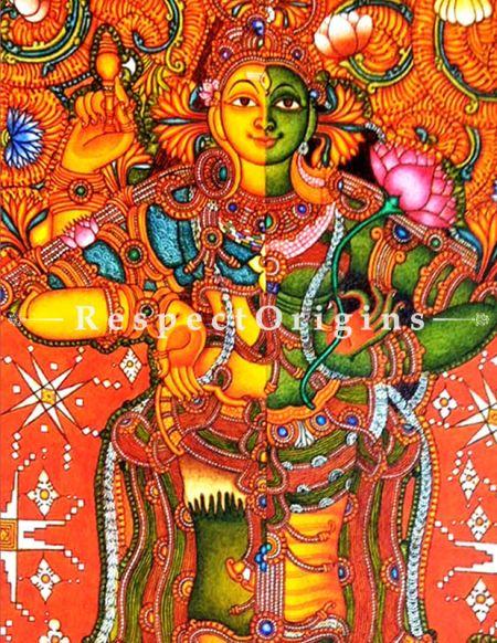 Buy Ardhanarishvara; Kerala Wall Mural Art; 36 X 30 inches Canvas Vertical Painting|RespectOrigins