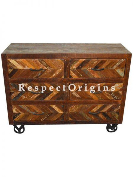 Buy Reclaimed Wooden Sideboard Buffet Table On Iron Wheels At RespectOrigins.com