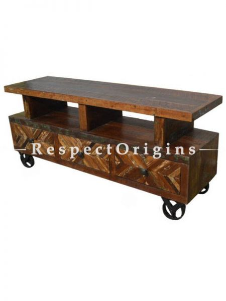 Buy Reclaimed Wooden Tv Stand With Wheels At RespectOrigins.com