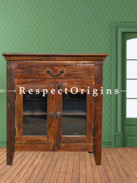 Buy Reclaimed Rustic Floor Storage Cabinets Table With Glass Doors At RespectOrigins.com