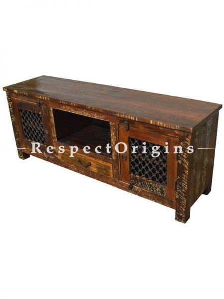 Buy Reclaimed Wooden Plasma Cabinets With Iron Grill At RespectOrigins.com