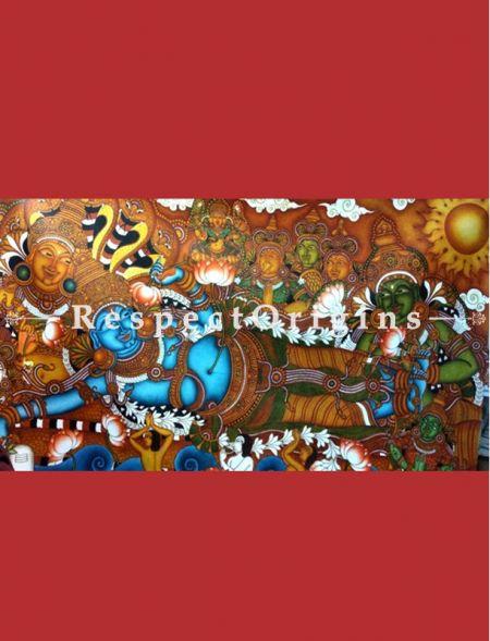 Reclining Vishnu Kerala Mural Art or Painting Large on canvas; 36x58 in; Chuvarchithram