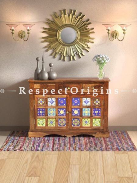 Buy Maya Vintage Tile Console Table Solid Wood At RespectOrigins.com
