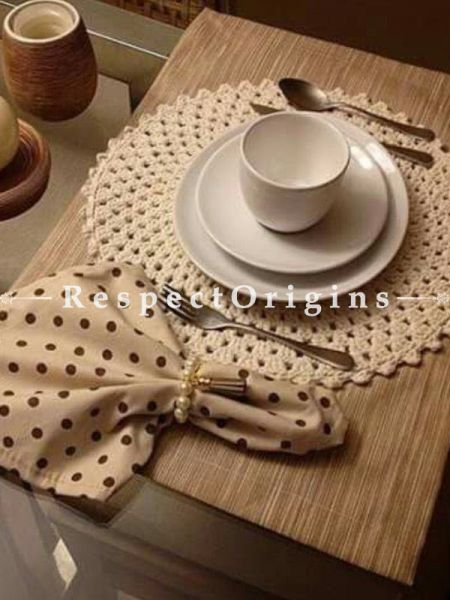 Buy Fabulous Hand Knitted Beige Crochet Table Runner, Round Mats and Coasters Sets; 11x51 in; Cotton At RespectOrigins.com