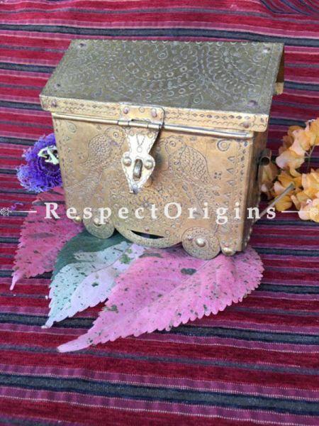 Buy Brass Pitara; Rectangular Hut Shape Hand Beaten Brass Box; 6x5x3 in At RespectOrigins.com