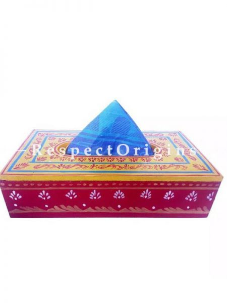 Buy  Rectangular Tissue Holder or Napkin box; Hand-painted in Traditional Patterns; wood At RespectOrigins.com